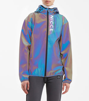 Vind jacket in iridescent fabric. Features printed logo, full zip, draw-sting hood and hem.