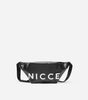 NICCE zero bum bag in black. Features large printed logo, oversized style and branded lining