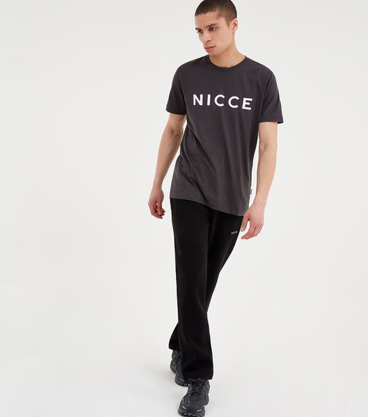 Black joggers made from soft cotton mix featuring a printed mini NICCE logo on the left leg. An oversized fit, cropped leg, elasticated waist with drawcord, side pockets and ankle cuffs. Wear with matching hood or sweat.  *Exclusive to NICCECLOTHING.com  Details:  Black  Printed mini branding   Cropped leg  50% Polyester 50% Cotton  #NICCE