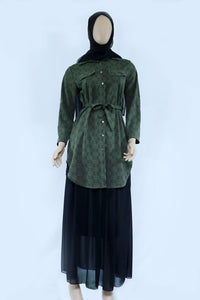 Ladies Long Print Shirt With Belt - almanaar Islamic Store