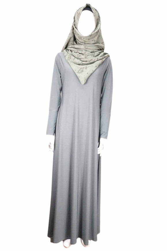 Girls Jersey  Abaya Grey