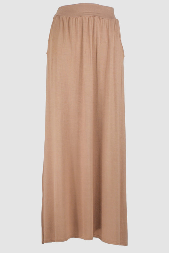 Caramel Jersey Skirt With Pockets - almanaar Islamic Store