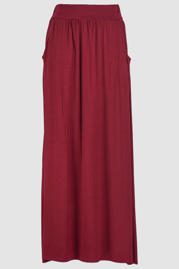Burgundy Jersey Skirt With Pockets - almanaar Islamic Store