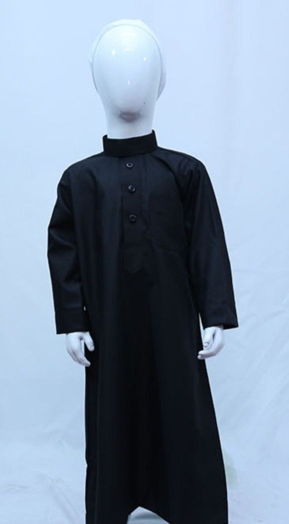 Collared Plain Kids Thobe With Button Opening - almanaar Islamic Store