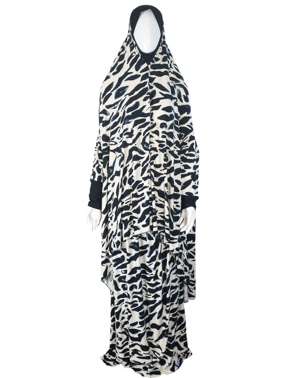 Abstract Black White Two Piece Prayer Dress - almanaar Islamic Store