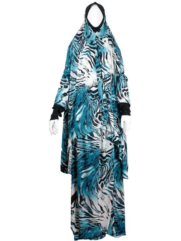 Abstract Blue White Two Piece Prayer Dress - almanaar Islamic Store