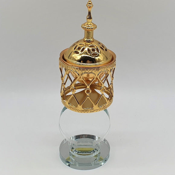 Gold Bukhoor Burner With Heart Design - almanaar Islamic Store