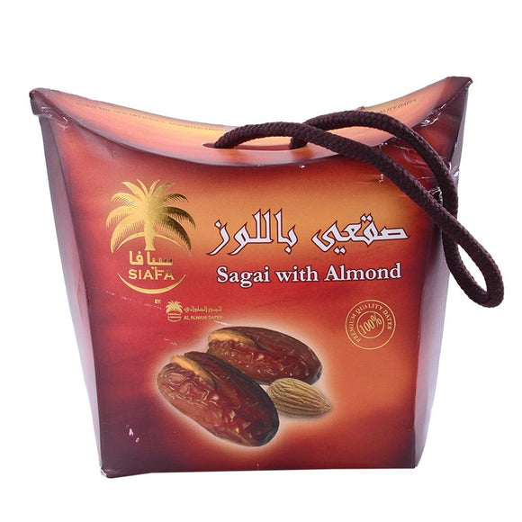 Premium Sagai Dates With Almond Quality Siafa 115g - almanaar Islamic Store