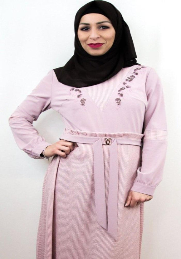 Floral Design Embroidery Dresses. - almanaar Islamic Store