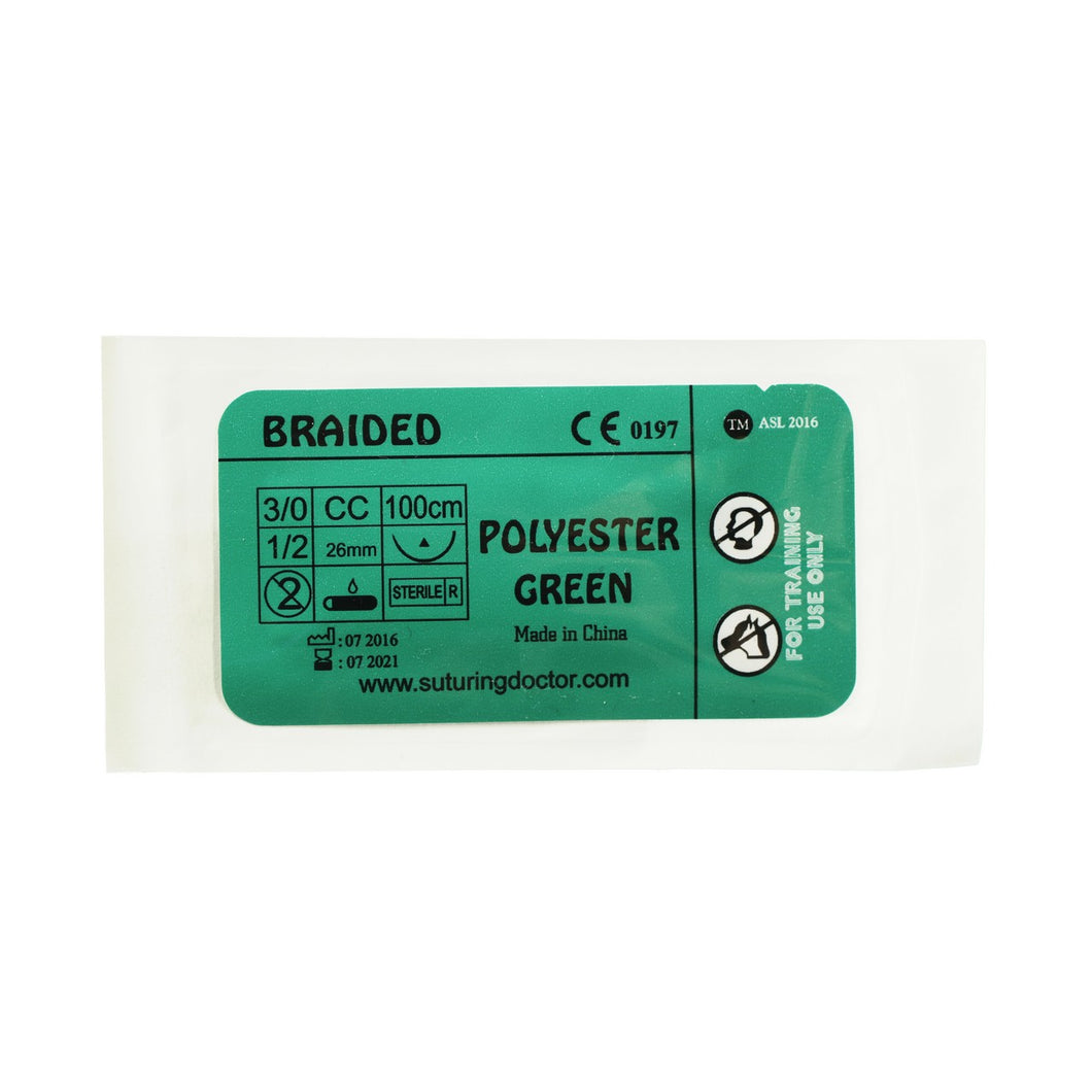 Suturing Doctor™ 3-0 POLYESTER BRAIDED GREEN Training Sutures - 12 Pack