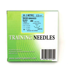 Load image into Gallery viewer, Suturing Doctor™ 5-0 SILK BRAIDED BLACK Training Sutures - 20 Pack