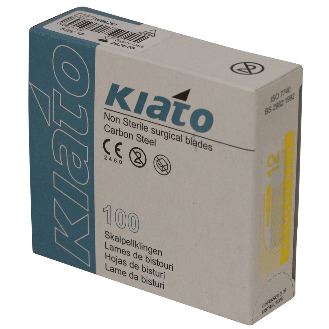 KIATO No.12 NON-STERILE SWEDISH Carbon Steel Crescent Shape Cutting Edge Ultra Thin Sharp Surgical Scalpel Blades Individually Wrapped in Foils High Quality Disposable 100-count Box Long Expiry Date