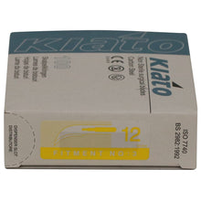 Load image into Gallery viewer, KIATO No.12 NON-STERILE SWEDISH Carbon Steel Crescent Shape Cutting Edge Ultra Thin Sharp Surgical Scalpel Blades Individually Wrapped in Foils High Quality Disposable 100-count Box Long Expiry Date