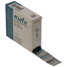 Load image into Gallery viewer, KIATO No.15C NON-STERILE SWEDISH Carbon Steel Longer Curved Cutting Edge Ultra Thin Sharp Surgical Scalpel Blades Individually Wrapped in Foils High Quality Disposable 100-count Box Long Expiry Date