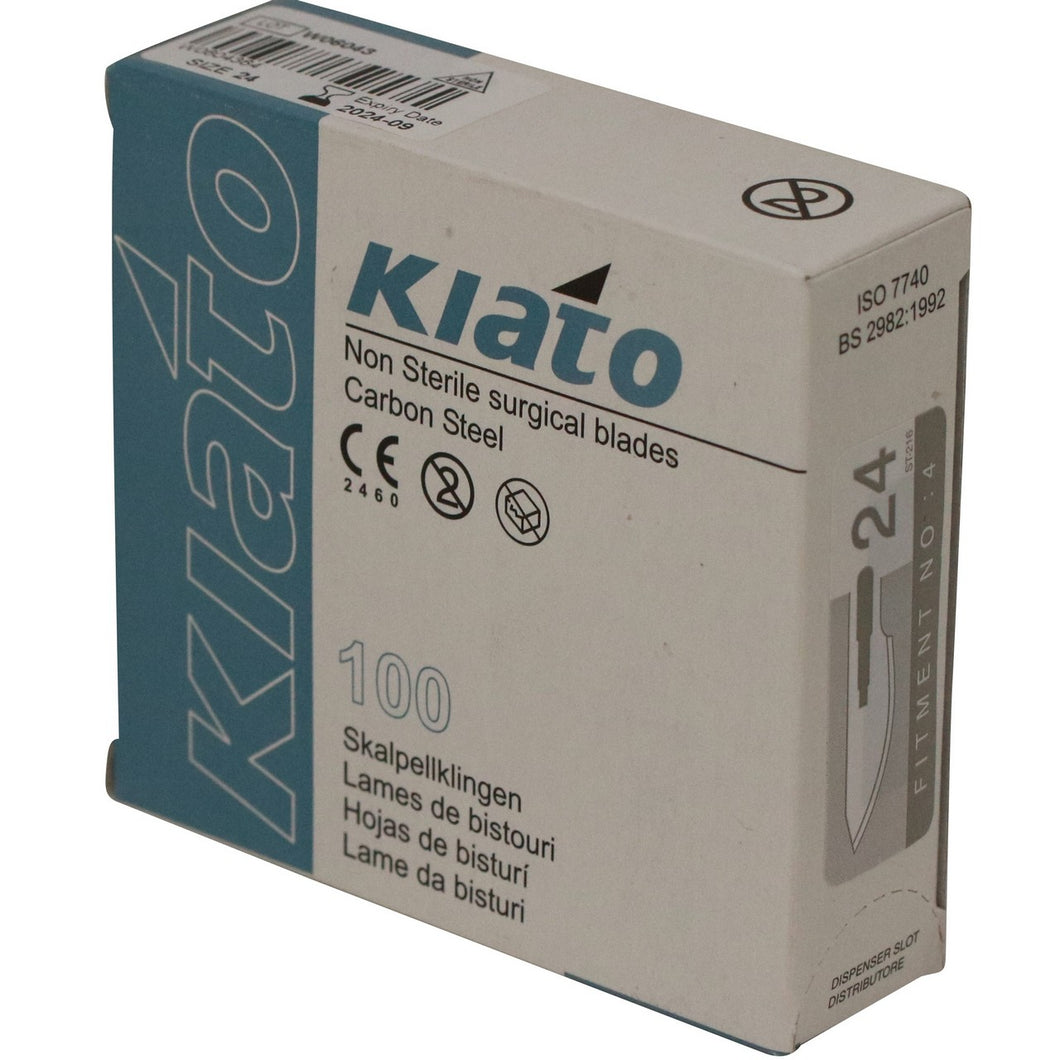 KIATO No.24 NON-STERILE SWEDISH Carbon Steel Semi Circular Cutting Edge Ultra Thin Sharp Surgical Scalpel Blades Individually Wrapped in Foils High Quality Disposable 100-count Box Long Expiry Date