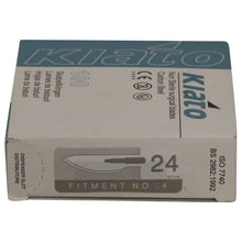 Load image into Gallery viewer, KIATO No.24 NON-STERILE SWEDISH Carbon Steel Semi Circular Cutting Edge Ultra Thin Sharp Surgical Scalpel Blades Individually Wrapped in Foils High Quality Disposable 100-count Box Long Expiry Date