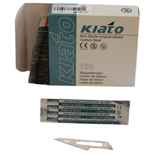 Load image into Gallery viewer, KIATO No.26 NON-STERILE SWEDISH Carbon Steel Fine Point Diagonal Cutting Edge Ultra Thin Sharp Surgical Scalpel Blades Individually Sealed Foils High Quality Disposable 100-count Box Long Expiry Date