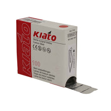 Load image into Gallery viewer, KIATO No.10A STERILE SWISS Carbon Steel Straight Pointed Tip Cutting Edge Ultra Thin Sharp Surgical Scalpel Blades Individually Wrapped in Foils High Quality Disposable 100-count Box Long Expiry Date