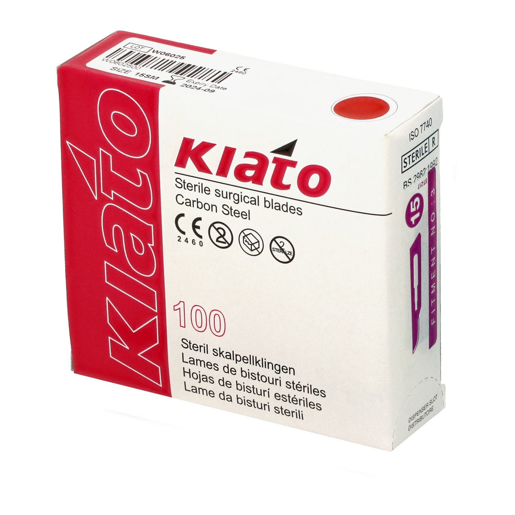 KIATO No.15SM STERILE SWISS Carbon Steel Longer Curved Cutting Edge Ultra Thin Sharp Surgical Scalpel Blades Individually Wrapped in Foils High Quality Disposable 100-count Box Long Expiry Date