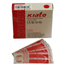 Load image into Gallery viewer, KIATO No.15SM STERILE SWISS Carbon Steel Longer Curved Cutting Edge Ultra Thin Sharp Surgical Scalpel Blades Individually Wrapped in Foils High Quality Disposable 100-count Box Long Expiry Date