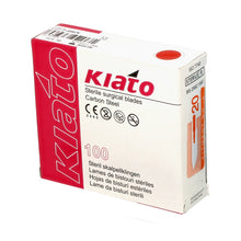 Load image into Gallery viewer, KIATO No.20 STERILE SWISS Carbon Steel Long Edge Cutting Edge Ultra Thin Sharp Surgical Scalpel Blades Individually Wrapped in Foils High Quality Disposable 100-count Box Long Expiry Date