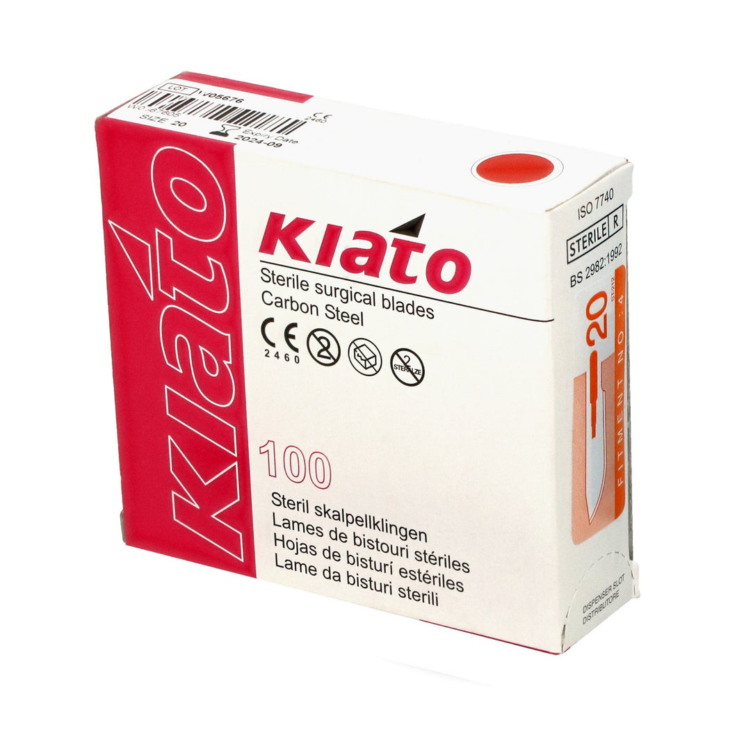 KIATO No.20 STERILE SWISS Carbon Steel Long Edge Cutting Edge Ultra Thin Sharp Surgical Scalpel Blades Individually Wrapped in Foils High Quality Disposable 100-count Box Long Expiry Date