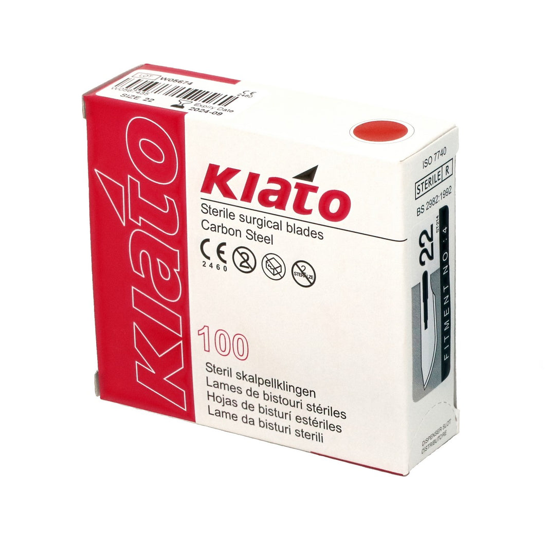 KIATO No.22 STERILE SWISS Carbon Steel Long Cutting Edge Ultra Thin Sharp Surgical Scalpel Blades Individually Wrapped in Foils High Quality Disposable 100-count Box Long Expiry Date