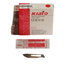 Load image into Gallery viewer, KIATO No.22 STERILE SWISS Carbon Steel Long Cutting Edge Ultra Thin Sharp Surgical Scalpel Blades Individually Wrapped in Foils High Quality Disposable 100-count Box Long Expiry Date