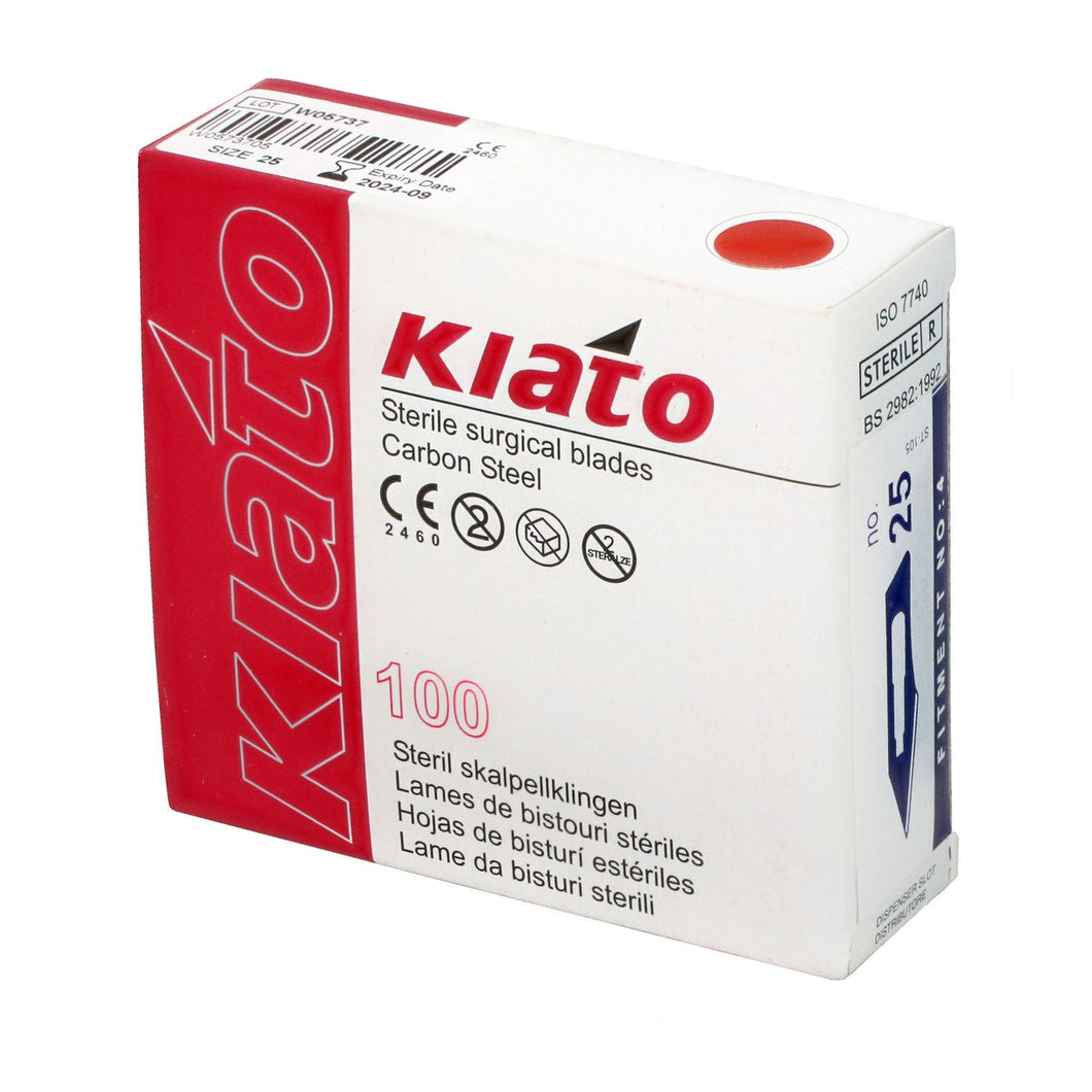 KIATO No.25 STERILE SWISS Carbon Steel Semi Circular Cutting Edge Ultra Thin Sharp Surgical Scalpel Blades Individually Wrapped in Foils High Quality Disposable 100-count Box Long Expiry Date