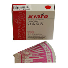Load image into Gallery viewer, KIATO No.25 STERILE SWISS Carbon Steel Semi Circular Cutting Edge Ultra Thin Sharp Surgical Scalpel Blades Individually Wrapped in Foils High Quality Disposable 100-count Box Long Expiry Date