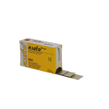 Load image into Gallery viewer, KIATO No.12 STERILE SWISS Stainless Steel Crescent Shape Cutting Edge Ultra Thin Sharp Surgical Scalpel Blades Individually Wrapped in Foils High Quality Disposable 100-count Box Long Expiry Date