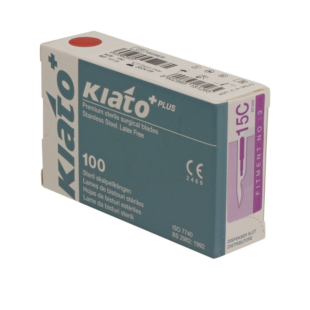 KIATO No.15C STERILE SWISS Stainless Steel Longer Curved Cutting Edge Ultra Thin Sharp Surgical Scalpel Blades Individually Wrapped in Foils High Quality Disposable 100-count Box Long Expiry Date