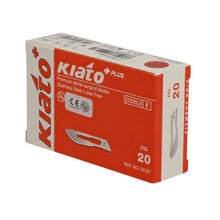 Load image into Gallery viewer, KIATO No.20 STERILE SWISS Stainless Steel Long Edge Cutting Edge Ultra Thin Sharp Surgical Scalpel Blades Individually Wrapped in Foils High Quality Disposable 100-count Box Long Expiry Date