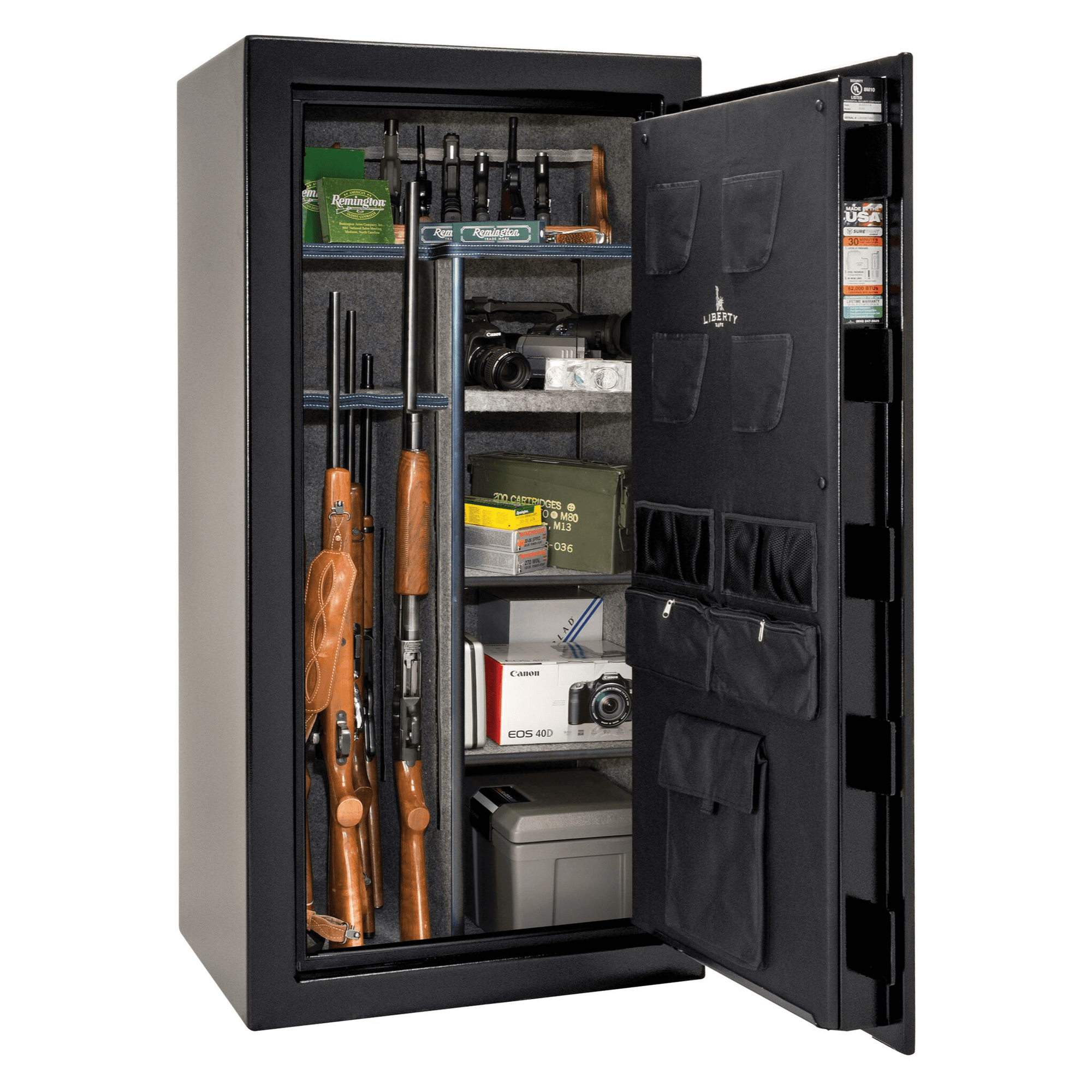 "USA | 30 | Level 2 Security | 40 Minute Fire Protection | Black | Chrome Electronic Lock | 60.5""(H) x 30""(W) x 25""(D)"
