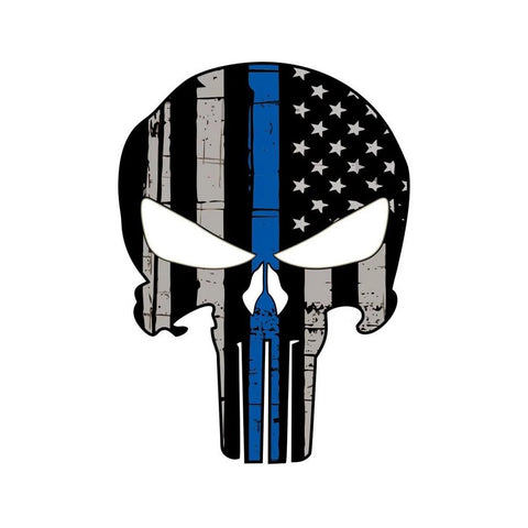 Punisher Skull Blue Line Sticker