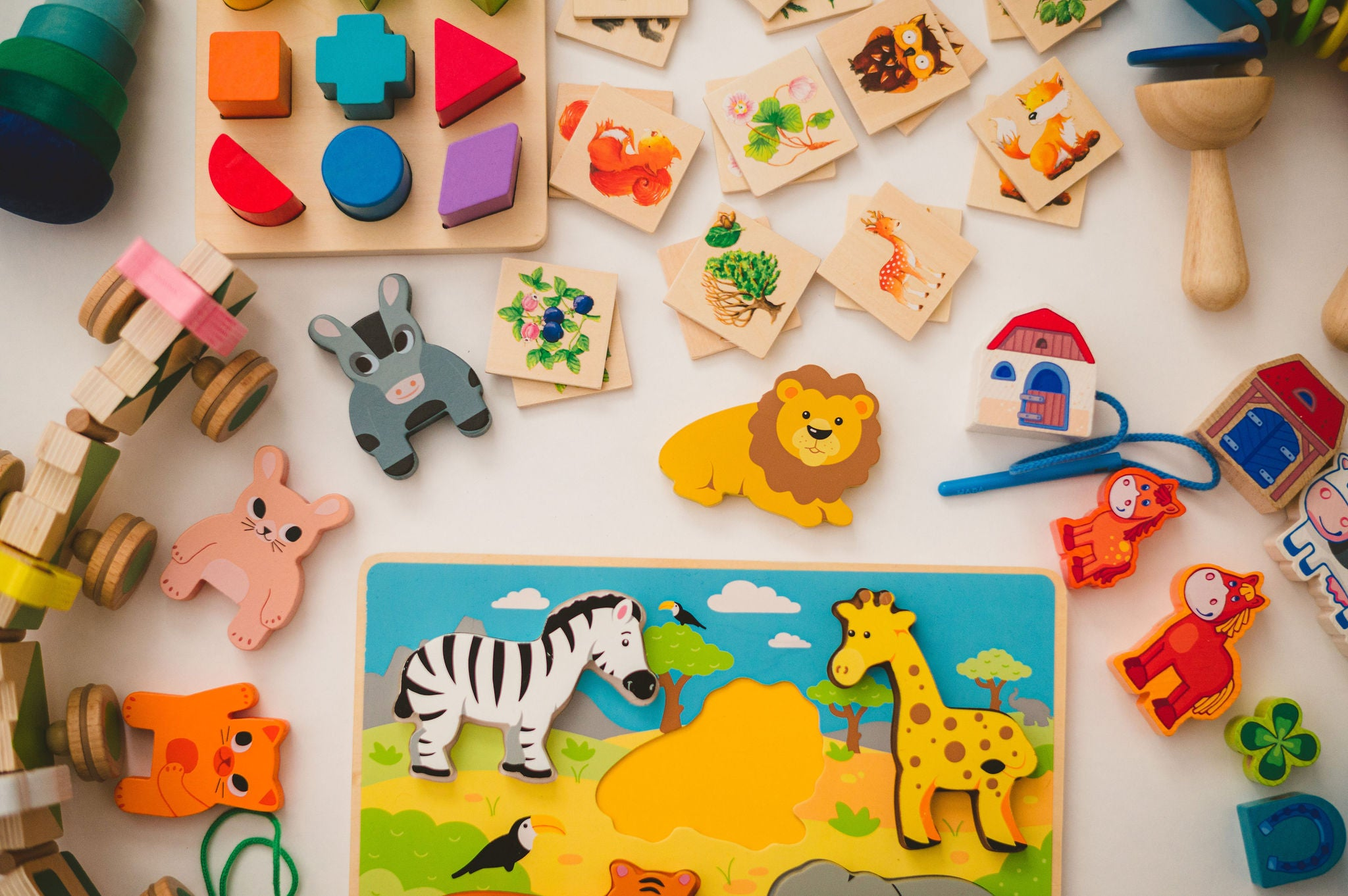 A variety of toys found in our rental toy subscription boxes