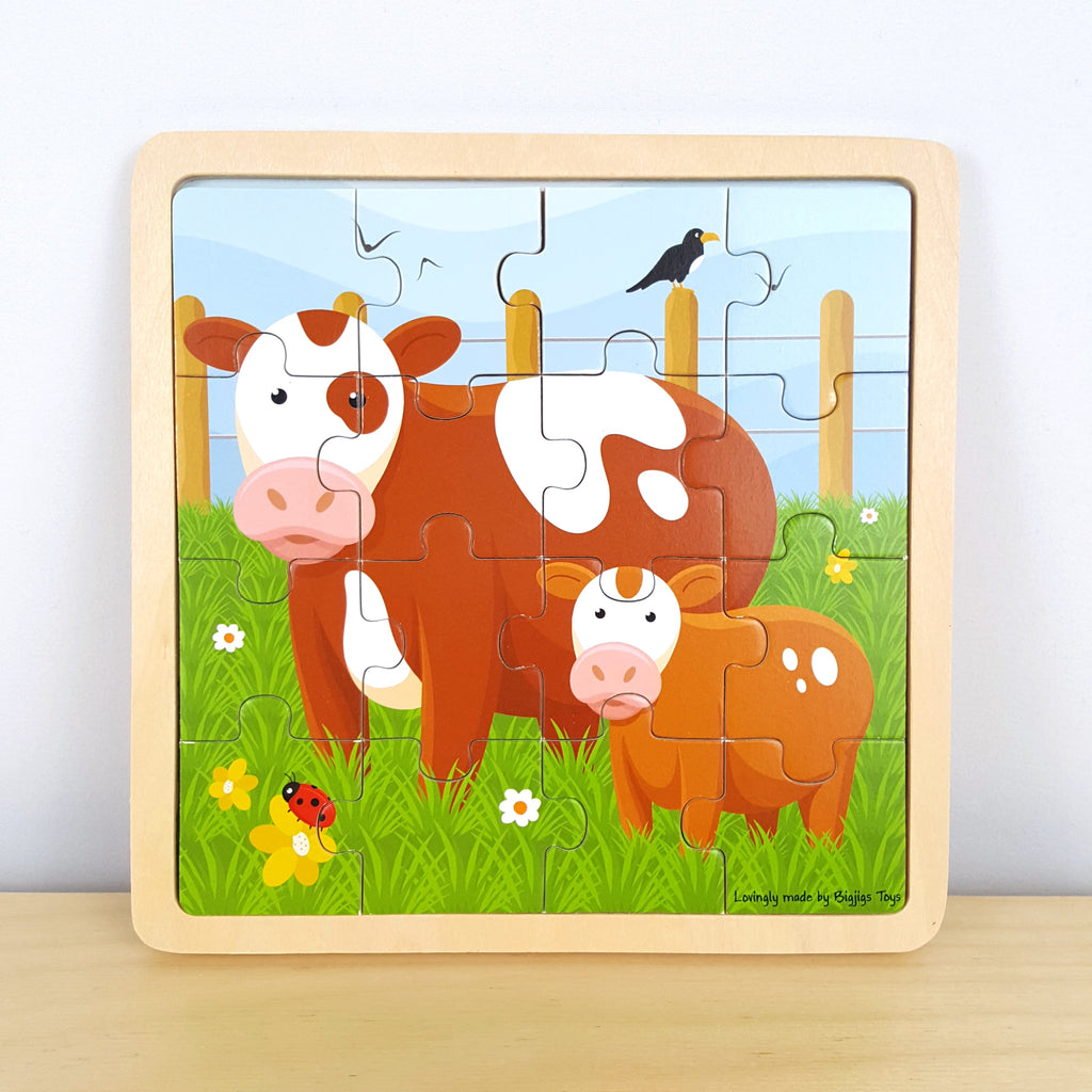 16 Piece Cow Jigsaw with Identical Background