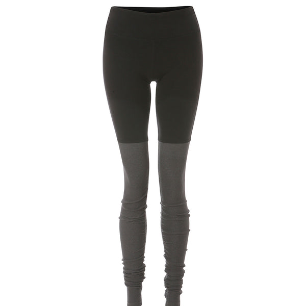 High-Waist Goddess Legging | Black/Stormy Heather