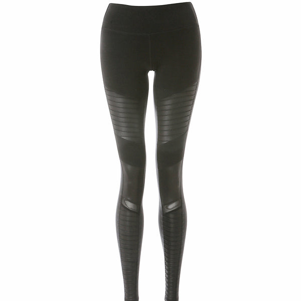 High-Waist Moto Leggings - Black/Black Glossy