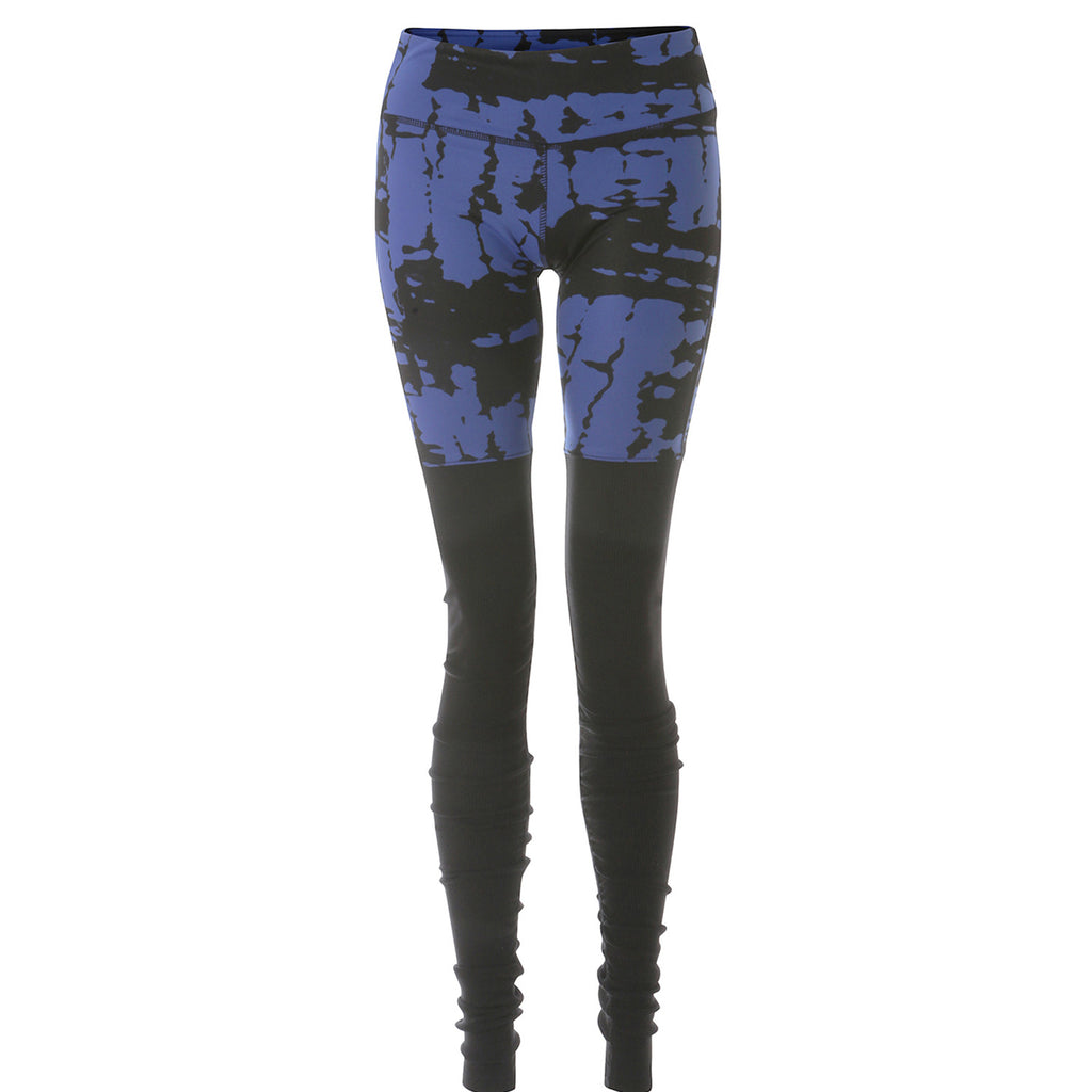 Goddess Legging - Deep Electric Blue Tie Dye/Black
