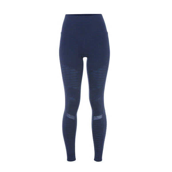 Alo Yoga | High-Waist Moto Leggings | Rich Navy/Rich Navy Glossy | Moto Leggings | Activewear | Leisurewear | Running | Yoga