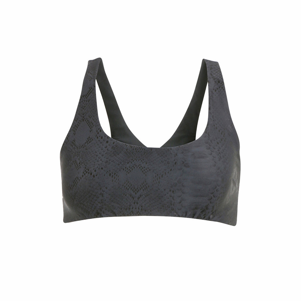 Crossed Out Sports Bra - Charcoal Foil Snake