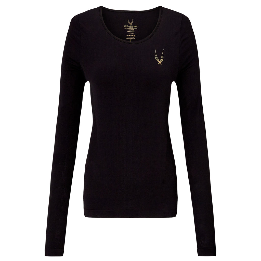 Technical Knit Long Sleeve Top - Black