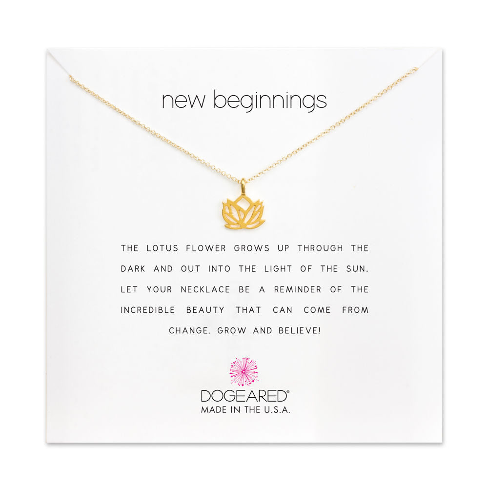 New Beginnings Lotus Charm Necklace | Gold Dipped