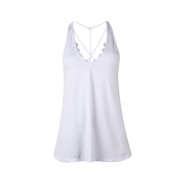 Scalloped Tank - White