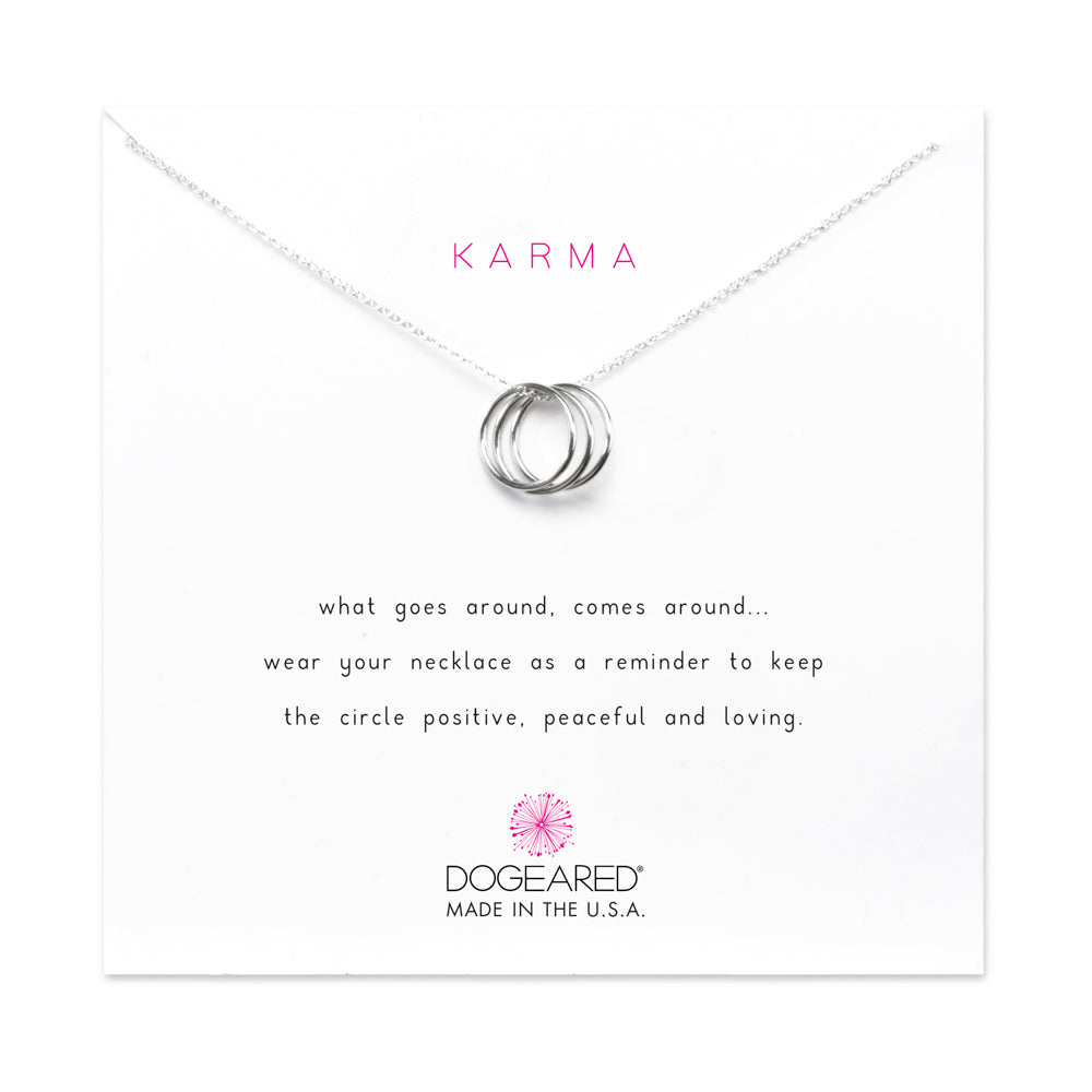 Triple Karma Ring Necklace - Silver