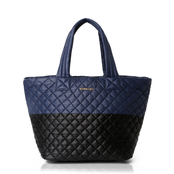 Medium Metro Tote - Black & Navy Colorblock Oxford