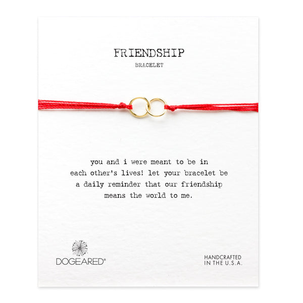 Dogeared Friendship Double-Linked Rings Bracelet | Red | Yoga | Meditation | Brand | Jewellery