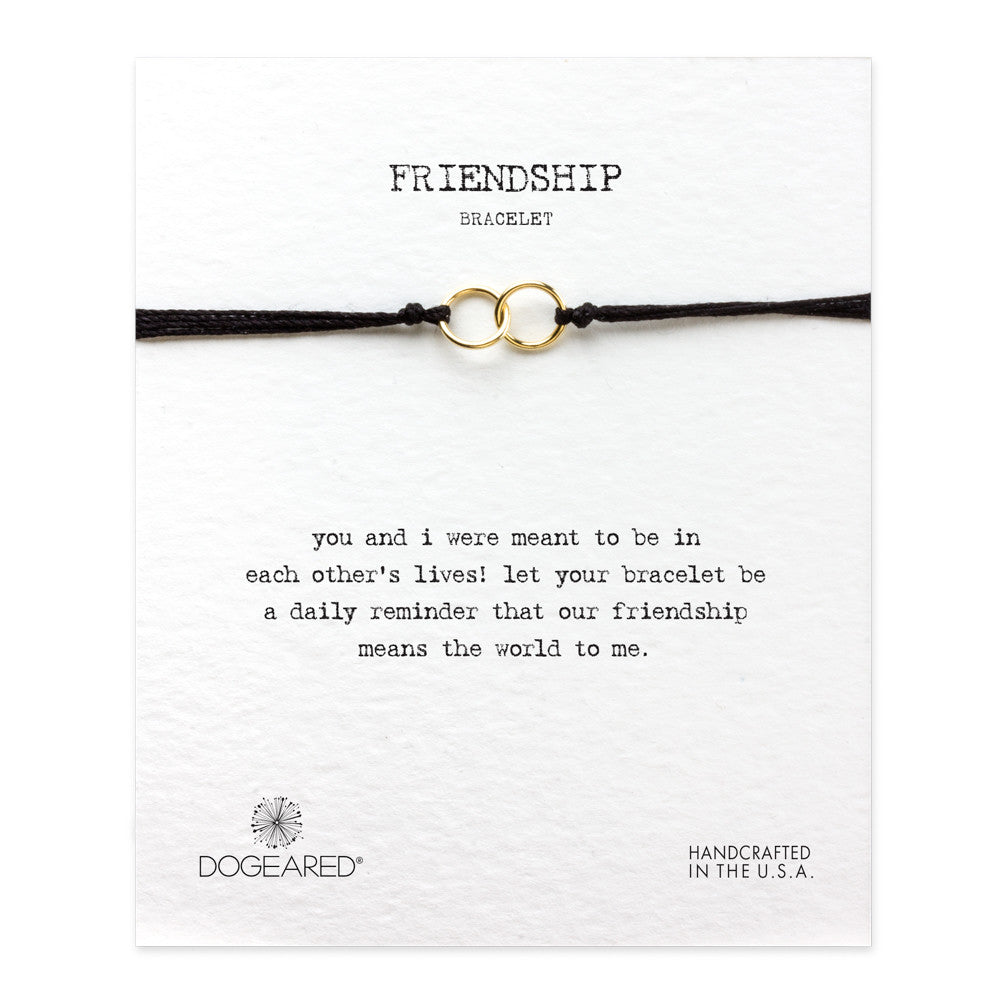 Dogeared Friendship Double-Linked Rings Bracelet | Black | Yoga | Meditation | Brand | Jewellery