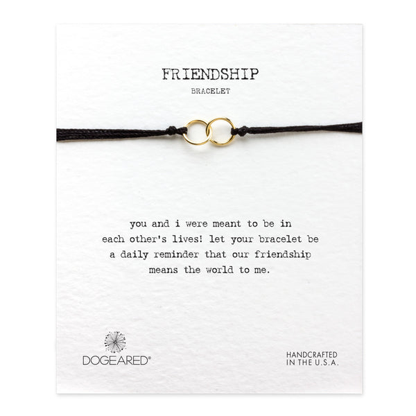 Friendship Double-Linked Rings Bracelet - Black